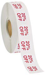Self-Adhesive 20% Off Discount Labels