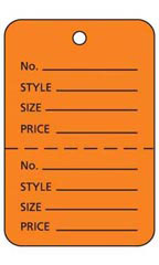 Large Unstrung Orange Perforated Coupon Tags - Case of 1,000