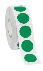 "Green Self-Adhesive Labels - ¾"" Diameter Circle - Roll of 1,000"