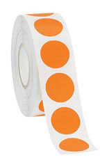 "Orange Self-Adhesive Labels - ¾"" Diameter Circle - Roll of 1,000"