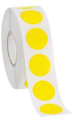 "Yellow Self-Adhesive Labels - ¾"" Diameter Circle - Roll of 1,000"