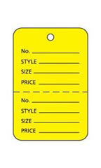 Small Unstrung Yellow Perforated Coupon Tags - Case of 1,000