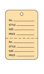 Small Unstrung Buff Perforated Coupon Price Tags