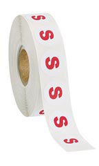 Size S Self-Adhesive Size Labels - Roll of 1,000