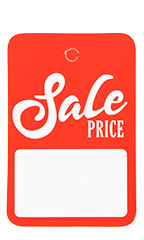 Boutique Red/White Sale Price Non-Perforated Price Tags