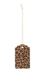 Large Strung Scalloped Brown Leopard Tags - Case of 500