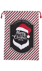 "Merry Christmas Santa Drawstring Bag - 24"" H x 18""W - Pack of 2"