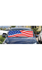 "Windshield Banner With Bungee Cord - ""US Flag"""