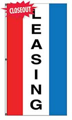 "Small Vertical Stripe Message Flag - ""Leasing"""