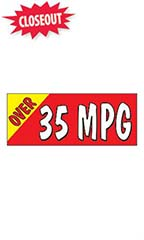 "Windshield Banner With Bungee Cord - ""Over 35 MPG"""