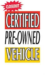 "Jumbo Under-The-Hood Sign - ""Certified Pre-Owned Vehicle"""