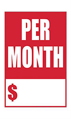 "Quick Sale Stickers - Red - ""Per Month"""