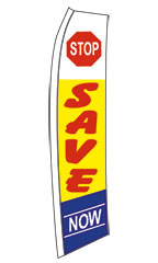 "Yellow, Red, White, Blue ""Save Now"" Wave Flag"
