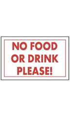 No Food Or Drink Please! Policy Sign Card