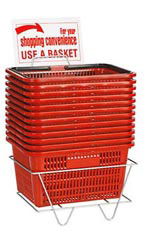 Set of 12 Red Shopping Baskets
