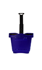 Set of 10 Rolling Blue Shopping Baskets