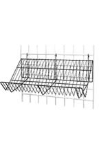 24 x 12 x 6 inch Black Downslope Shelf for Wire Grid with 4 inch Slanted Front Lip