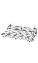 24 x 12 x 6 inch Black Downslope Shelf for Slatwall or Pegboard with 4 inch Slanted Front Lip