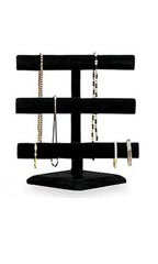 3-Tier Black Velvet Jewelry Display