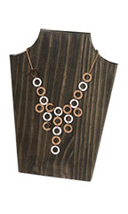 Large Dark Oak Wood Necklace Display