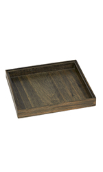 Small Dark Oak Wood Jewelry Tray
