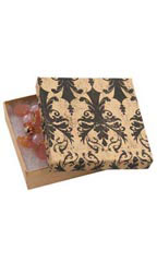 3 ½  x 3 ½  x 1 inch Cotton Filled Distressed Damask Jewelry Boxes