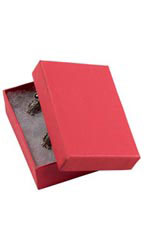 2 ½  x 1 ½  x 7/8 inch Cotton Filled Red Jewelry Boxes