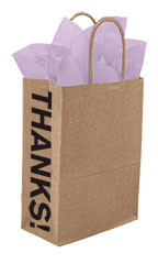 Medium Kraft Thanks! Gusset Paper Shopping Bags - Case of 250