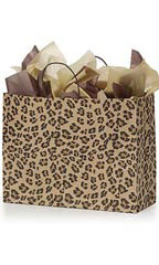 Large Brown Leopard Paper Shopping Bags - Case of 100