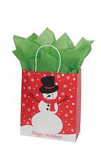 Medium Holiday Snowman Paper Shopping Bags - Case of 100