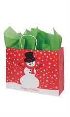 Large Holiday Snowman Paper Shopping Bags - Case of 100