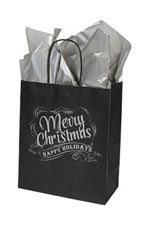 Medium Rustic Christmas Chalkboard Paper Shopping Bags – Case of 100