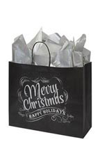 Large Rustic Christmas Chalkboard Paper Shopping Bags – Case of 100