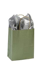 Medium Metallic Sage Paper Shopping Bags - Case of 100