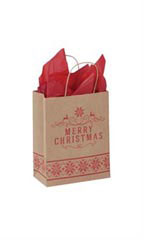 Medium Poinsettia Christmas Paper Shopping Bags - Case of 25