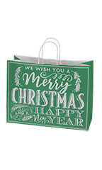 Large Green Modern Christmas Chalkboard Paper Shopping Bags - Case of 25