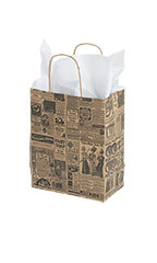 Medium Newsprint Paper Shopping Bags - Case of 100