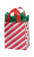 Medium Peppermint Stripes Frosted Shopping Bags