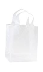 8 x 5 x 10 inch Clear Frosted Plastic Shopping Bags - Case of 250
