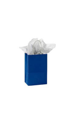 Small Glossy Royal Blue Paper Shopping Bags - Case of 100