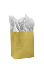 Medium Gold Glossy Paper Shopping Bags - Case of 250