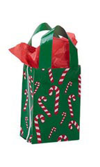 Small Dancing Candy Cane Frosted Shopping Bags