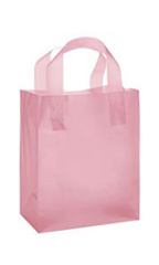 Medium Pink Frosted Plastic Shopping Bags - Case of 100