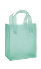 Medium Aqua Frosted Shopping Bags - Case of 100