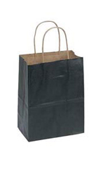 Medium Black Paper Shopping Bags - Case of 25