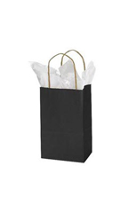 Small Black Paper Shopping Bags - Case of 25