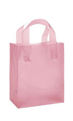 Medium Pink Frosted Plastic Shopping Bags - Case of 25