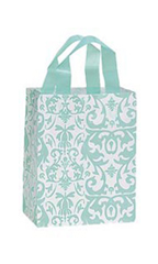 Medium Aqua Damask Frosted Plastic Shopping Bags - Case of 25