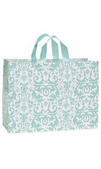 Large Aqua Damask Frosted Plastic Shopping Bags - Case of 25