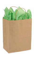 Medium Recycled Natural Kraft Paper Shopping Bags - Case of 250